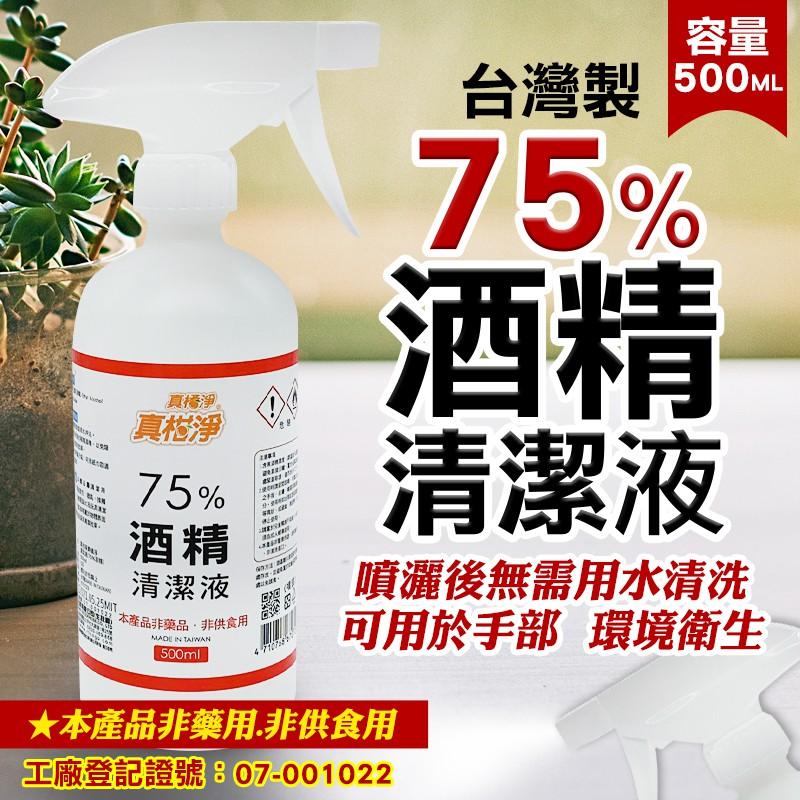 現貨 台灣製  真橘淨 75%酒精清潔液 有噴頭  500ml