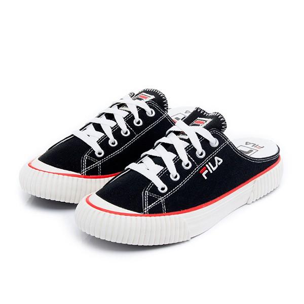 FILA 【4C122U978】BUMPER MULE 穆勒鞋 帆布鞋 懶人鞋 黑色 女生尺寸