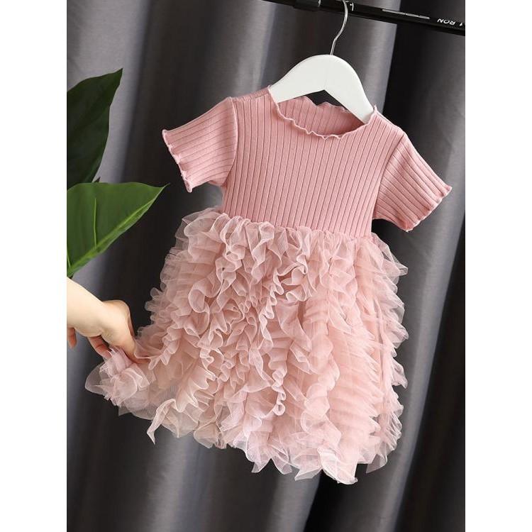 女童洋裝 夏裝新款童裝女童寶寶連身裙公主紗裙洋氣蓬蓬拼接蛋糕裙夏裝