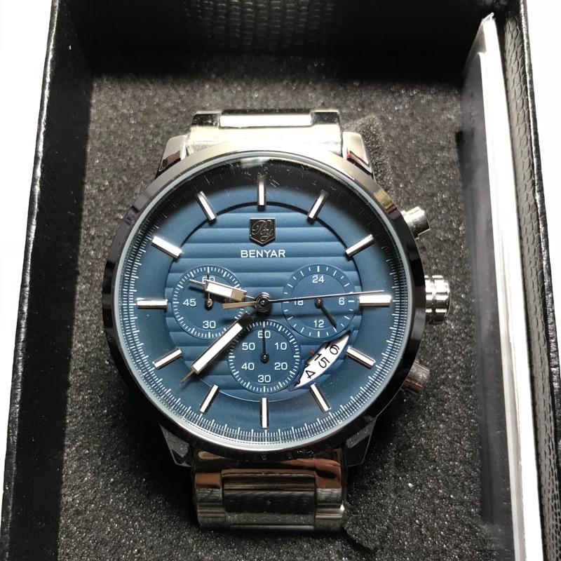 BENYAR 賓雅石英錶三眼計時功能帶日期顯示