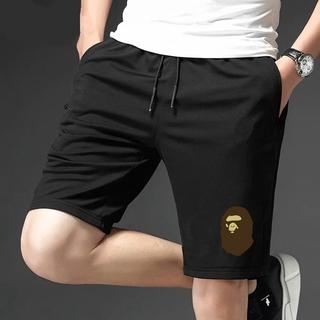 BAPE (SizeM-8XL)夏季男士女士短褲寬鬆休閒運動外穿五分褲潮流潮牌猿人印花沙灘短褲