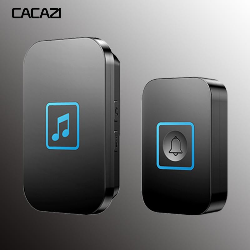 CACAZI無線門鈴防水智能300M遠程門鈴家用LED歐盟插頭燈呼叫鈴黑色