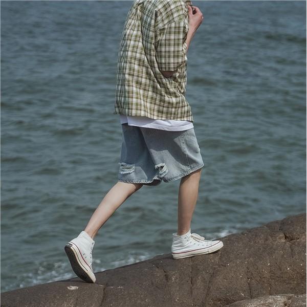 ❐✇禾子先生純色破洞牛仔短褲夏季新款韓版港味百搭中褲學生五分褲潮