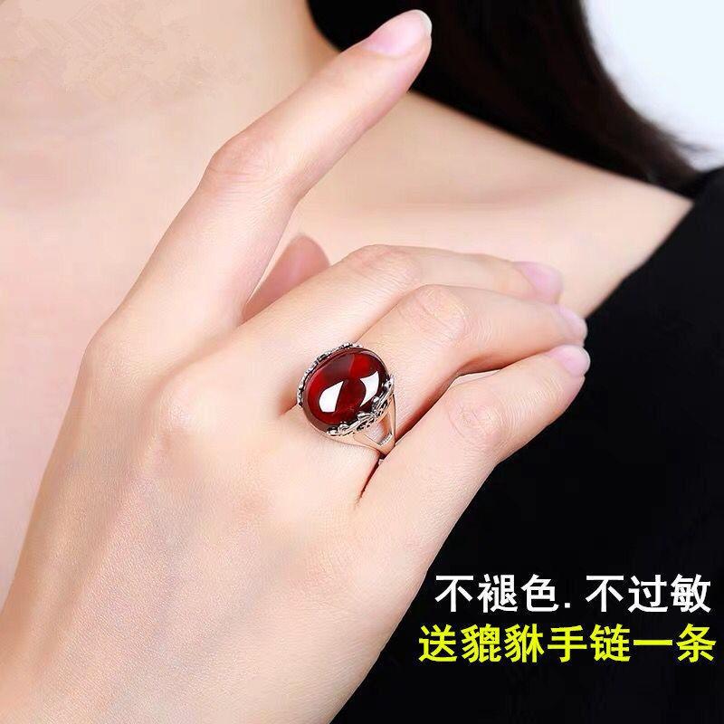 /瑪瑙紅寶石紅玉髓綠玉石水晶翡翠蜜蠟銀戒指女開口活口不掉色鉆韓