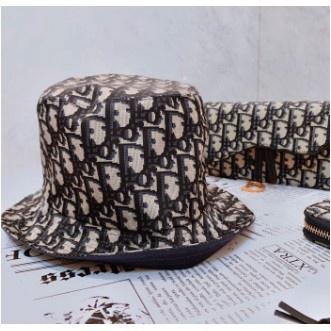 法國正品 Dior TEDDY D CD OBLIQUE 藍色 緹花 老花 雙面 窄帽 漁夫帽