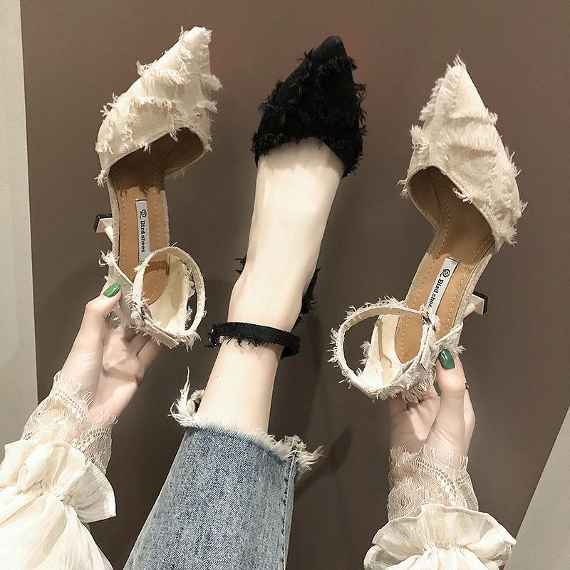 網紅一字扣小清新高跟鞋2021新款春夏季百搭少女尖頭貓跟單鞋中跟roger 涼鞋gucci 女鞋