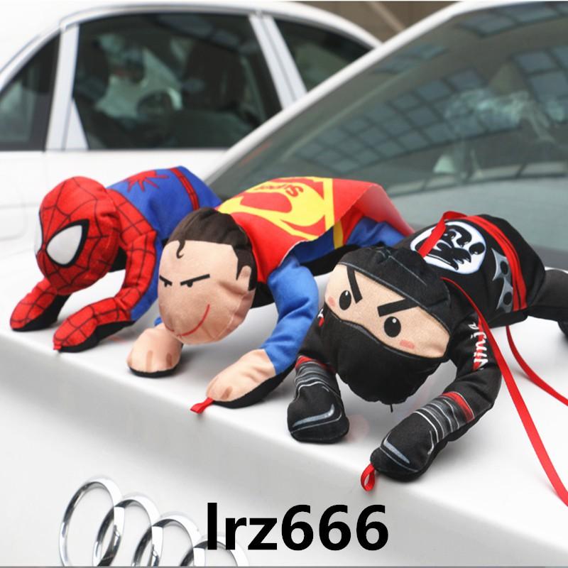 【lrz666】汽車車頂裝飾玩偶車外拉風抖音蜘蛛俠車飾品超人車頂磁性毛絨公仔