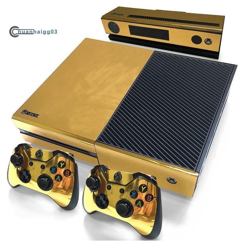 適用於Xbox One控制台控制器的金色光澤皮膚貼紙+ Kinect貼花乙烯基