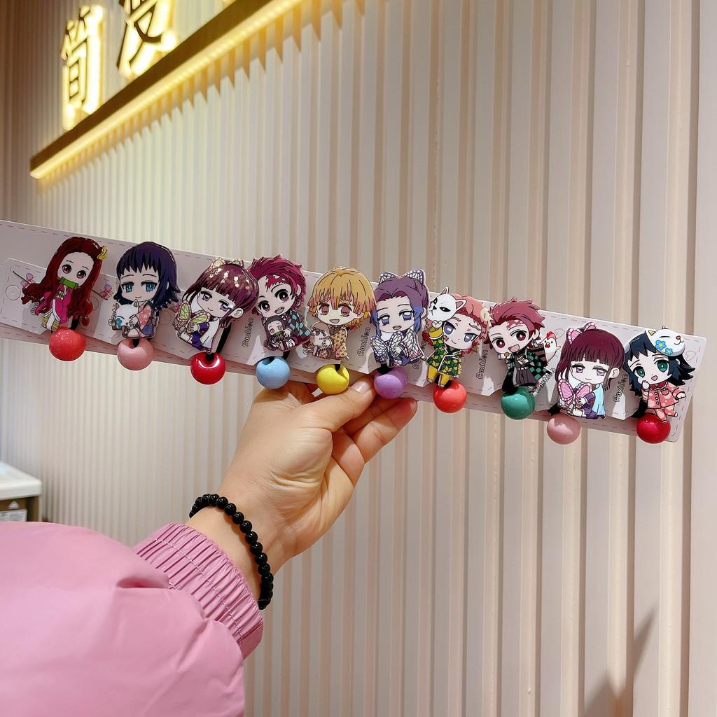 爆款限時下殺10個裝日本動漫兒童卡通飾品鬼滅鬼滅之刃頭繩髮圈髮飾單扎皮筋飾品