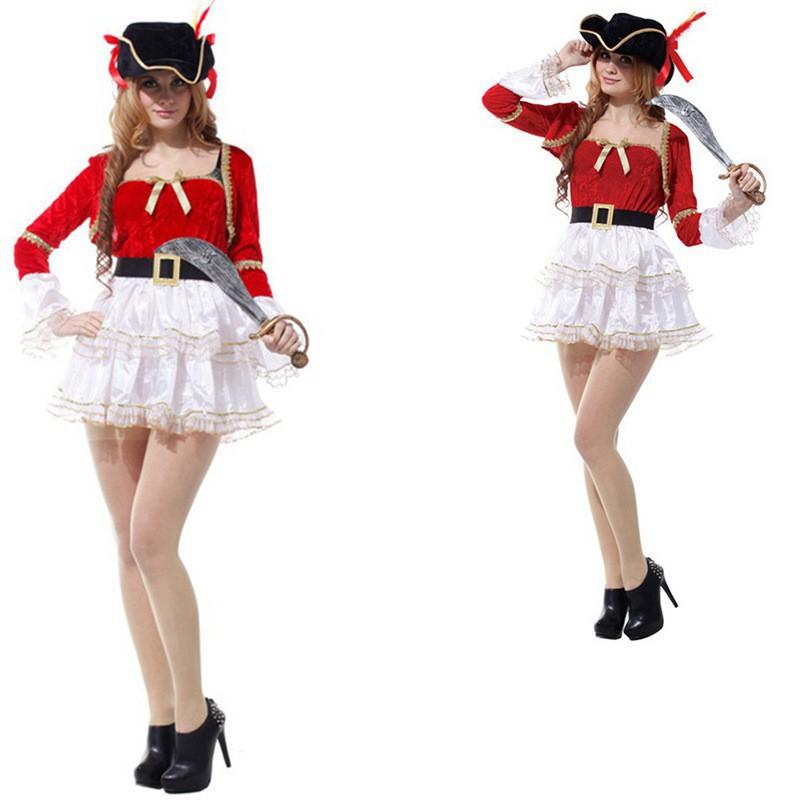 爵士女海盜 萬聖節Cosplay服裝成人海盜舞臺表演服 海盜公主裙禮服 [哆啦A夢的口袋.]
