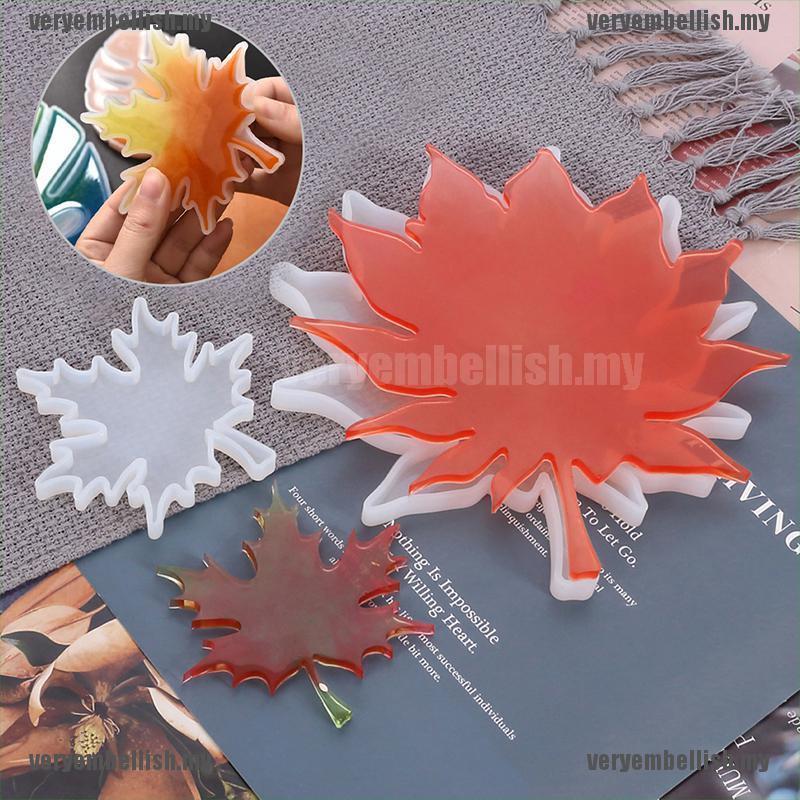 (Well) 楓葉矽膠樹脂模具鑄造杯墊 Diy 模具珠寶製作