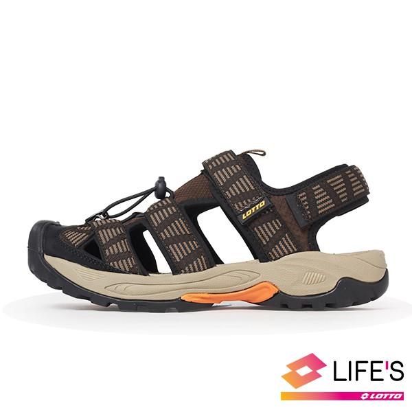 LOTTO樂得義大利第一品牌 男款護趾排水運動涼鞋 [1653] 咖【巷子屋】