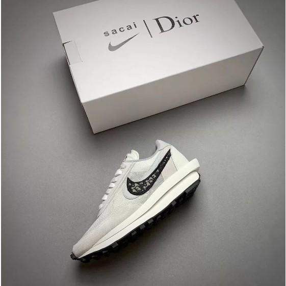 正品 Nike x Sacai x Dior 聯名 20新款 獨家首發 白灰 雙溝設計