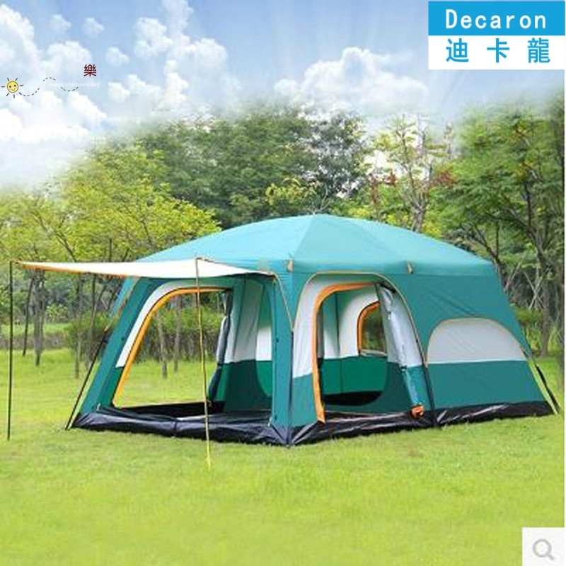 【新款帳篷多人露營】兩房一廳帳篷戶外野營6人8人10人12人二室一廳迪卡儂多人防雨大帳篷
