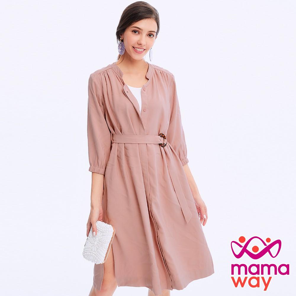 【mamaway 媽媽餵】優雅斜紋孕哺襯衫洋-兩穿(共2色) 哺乳洋裝 孕婦洋裝