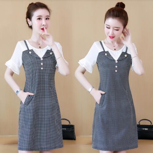 洋裝 連身裙 中大尺碼 L-5XL圓領喇叭袖拼接假兩件格子裙子NB30B-9301.胖胖美依