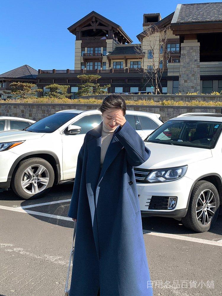 呢子大衣女2021春季新款韓版寬鬆顯瘦百搭流行中長款過膝毛呢外套 gkCu