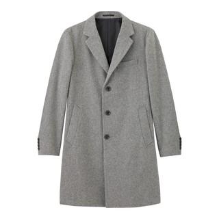 。小虎挖寶庫。全新GU高磅數淺灰色岩灰色3粒扣羊毛長版大衣中長款長大衣外套毛呢大衣。中長款男裝羊毛混紡切斯特大...