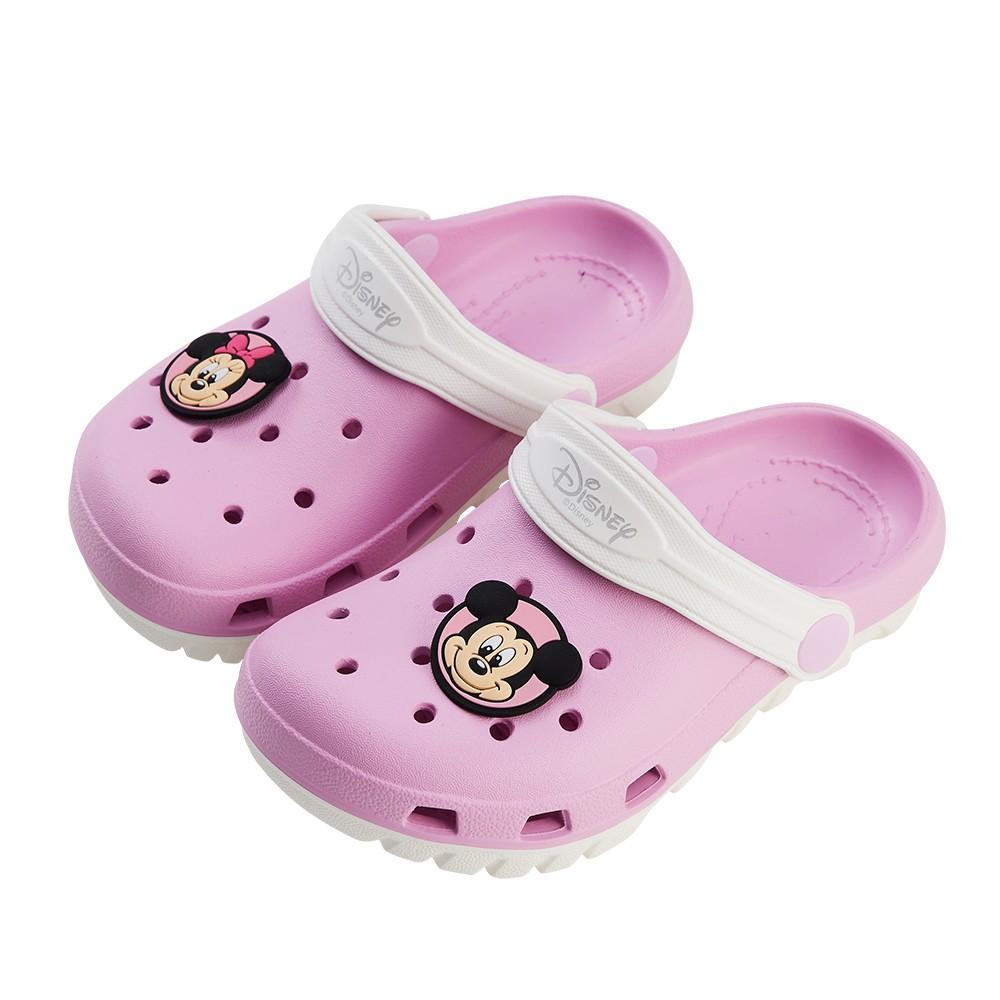 迪士尼童鞋 米奇與米妮 雙色洞洞防水涼鞋-粉