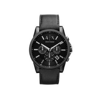 Armani Exchange男錶AX2098黑色皮質手錶