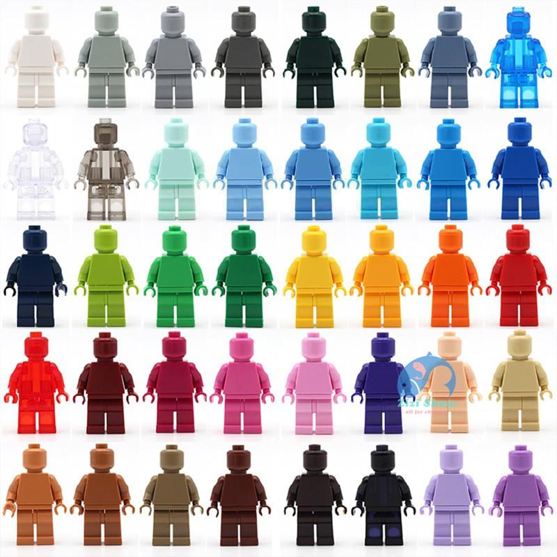 樂樂積木玩具 40款純色樂高式人偶 素體素色積木人偶 公仔 小顆粒積木人 MOC百搭造型 40516樂高收藏者愛好