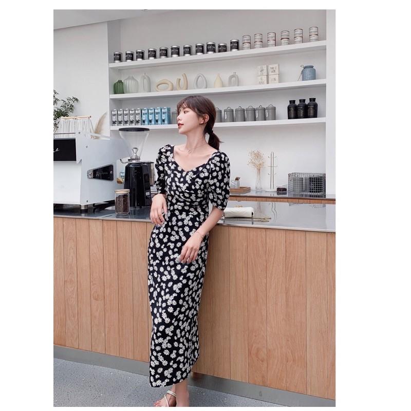 法式優雅復古 小雛菊 超顯瘦 連身洋裝(適合L-XL)
