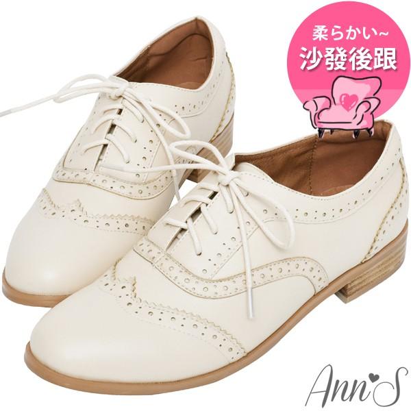 Ann'S好印象-復古雕花平底牛津鞋-米