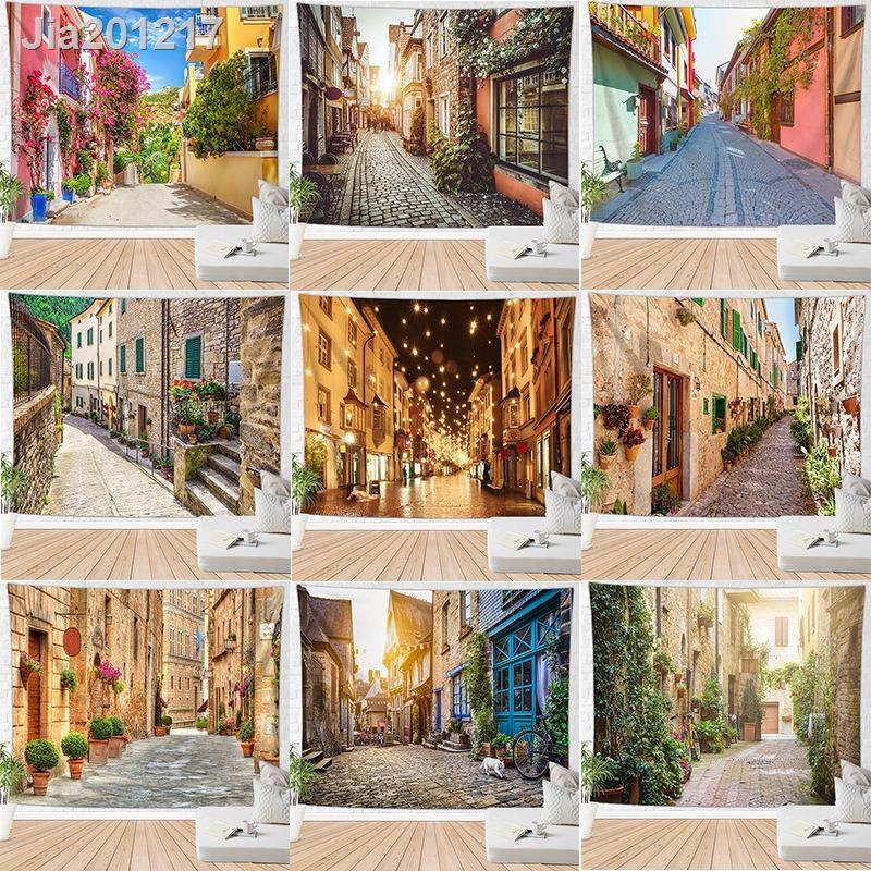[BYBS]✟✼☬歐式小鎮街道圖案數碼印花掛毯背景布墻毯沙灘巾掛布