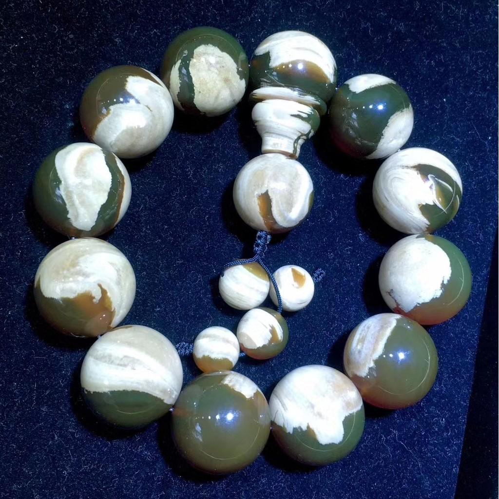 緬甸琥珀《手串》- 20mm綠蜜變色龍白根溶洞手串 ㊟ 購買前請詳閱商品內文 ㊟
