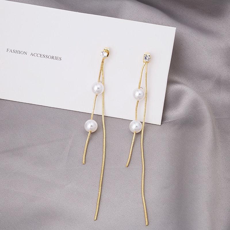 【免運】耳環 兩戴長款珍珠流蘇耳環 氣質網紅新潮耳釘耳墜耳飾 穿洞式 節日禮物