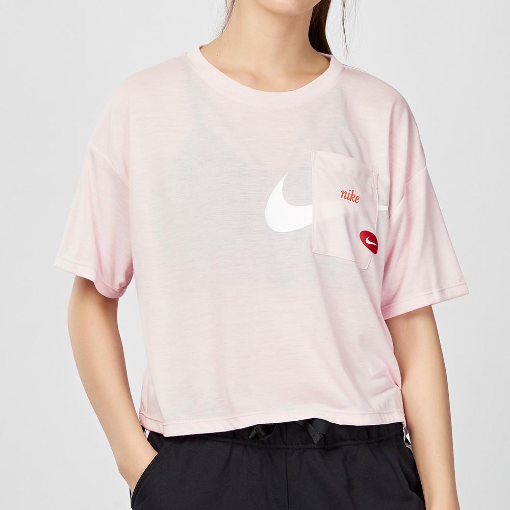 Nike Dry 女子 粉色 短版 透氣 速乾 印花 微透 短袖 上衣 CJ3481-699