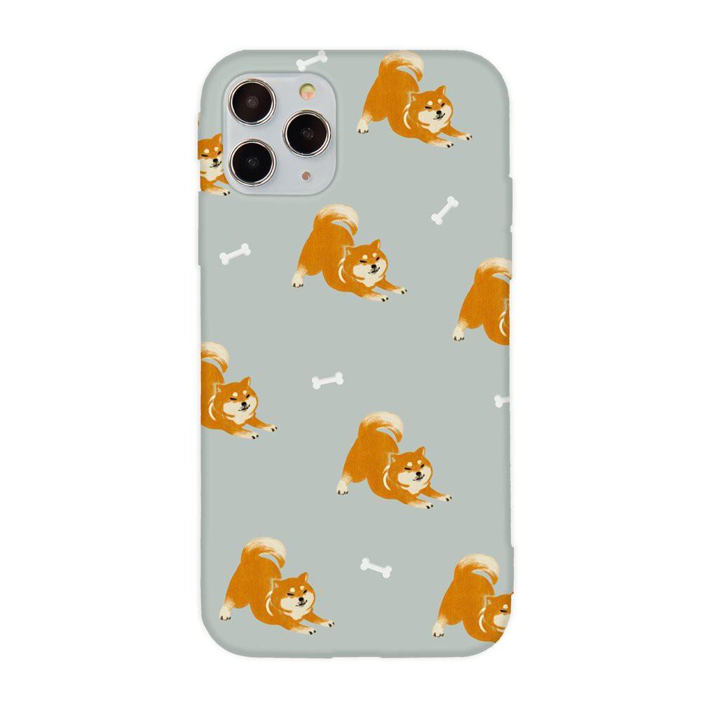 【TOYSELECT】萌寵碎花設計iPhone手機殼:伸懶腰柴犬 (灰色)
