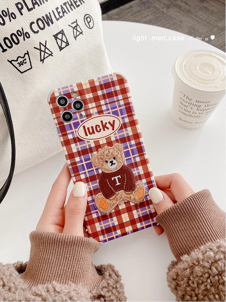 新款!英倫風小熊適用12/11Pro/Max/mini蘋果X/XS/XR手機殼iPhone8plus7