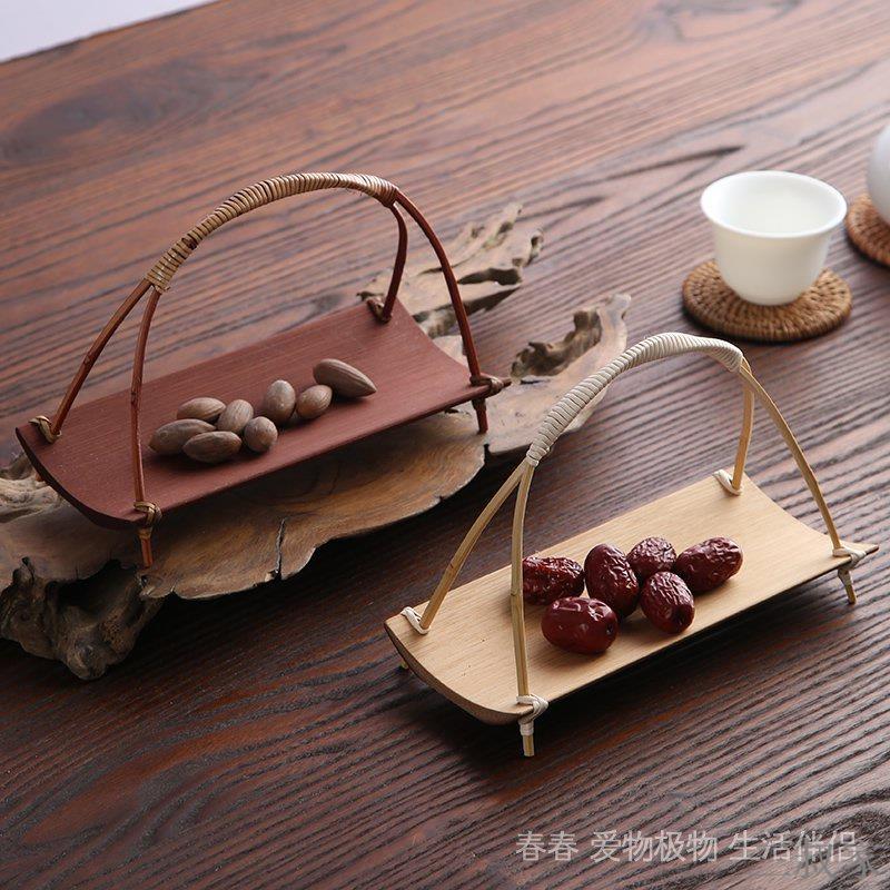 ❁三叔家❁春生活水果盤方形竹製籃物  及物籃物點心物精緻伴侶手提茶則及歡迎光臨盛瓜子盤物竹籃愛春  生活伴侶 愛提籃