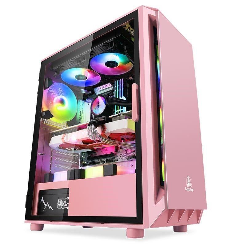 【電腦機殼】鑫谷直男電腦機箱玻璃透明全側透水冷ATX臺式機個性靜音黑白粉色
