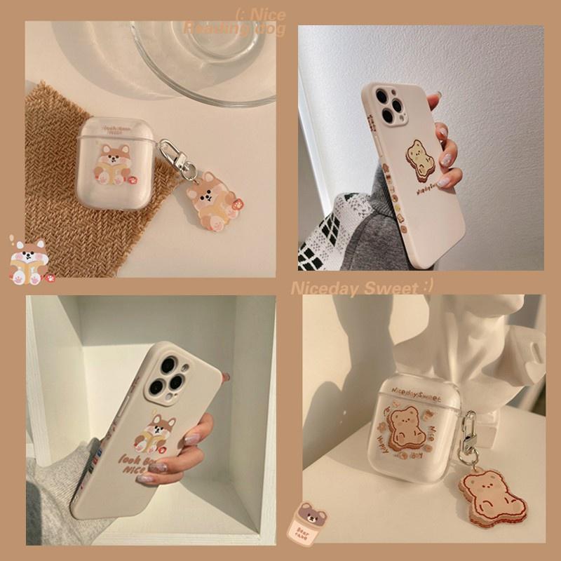 台灣出貨☆ins柴犬小熊 iphone12手機殼 側邊圖案 Airpods Pro 1/2代保護殼 透明軟殼 送吊飾
