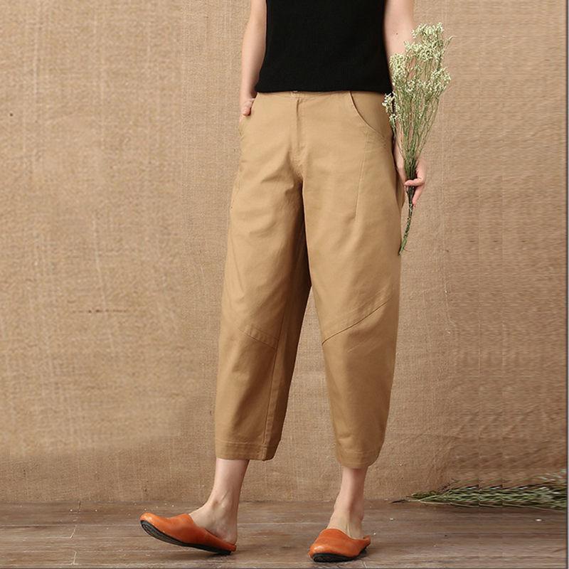 高腰牛仔褲女寬鬆蘿蔔褲2021春夏款八九分闊腿褲奶奶褲休閒褲女