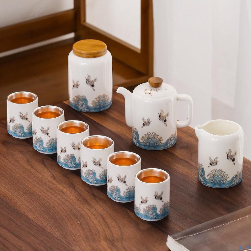 鎏銀茶具套裝琺瑯彩99純銀整套功夫茶具辦公家用高檔泡茶壺品茗杯 水壺 茶壺 茶具 禮物 932