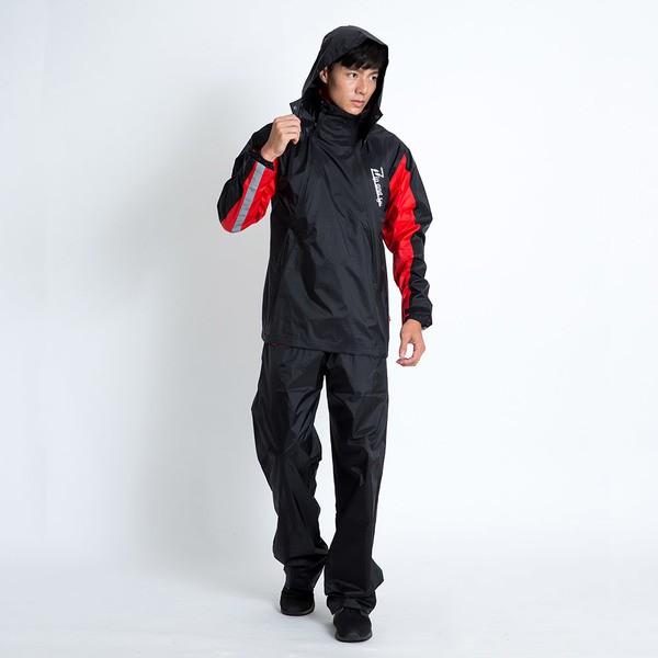 Double雙拉鍊斜開兩件式雨衣(D2)-黑/紅