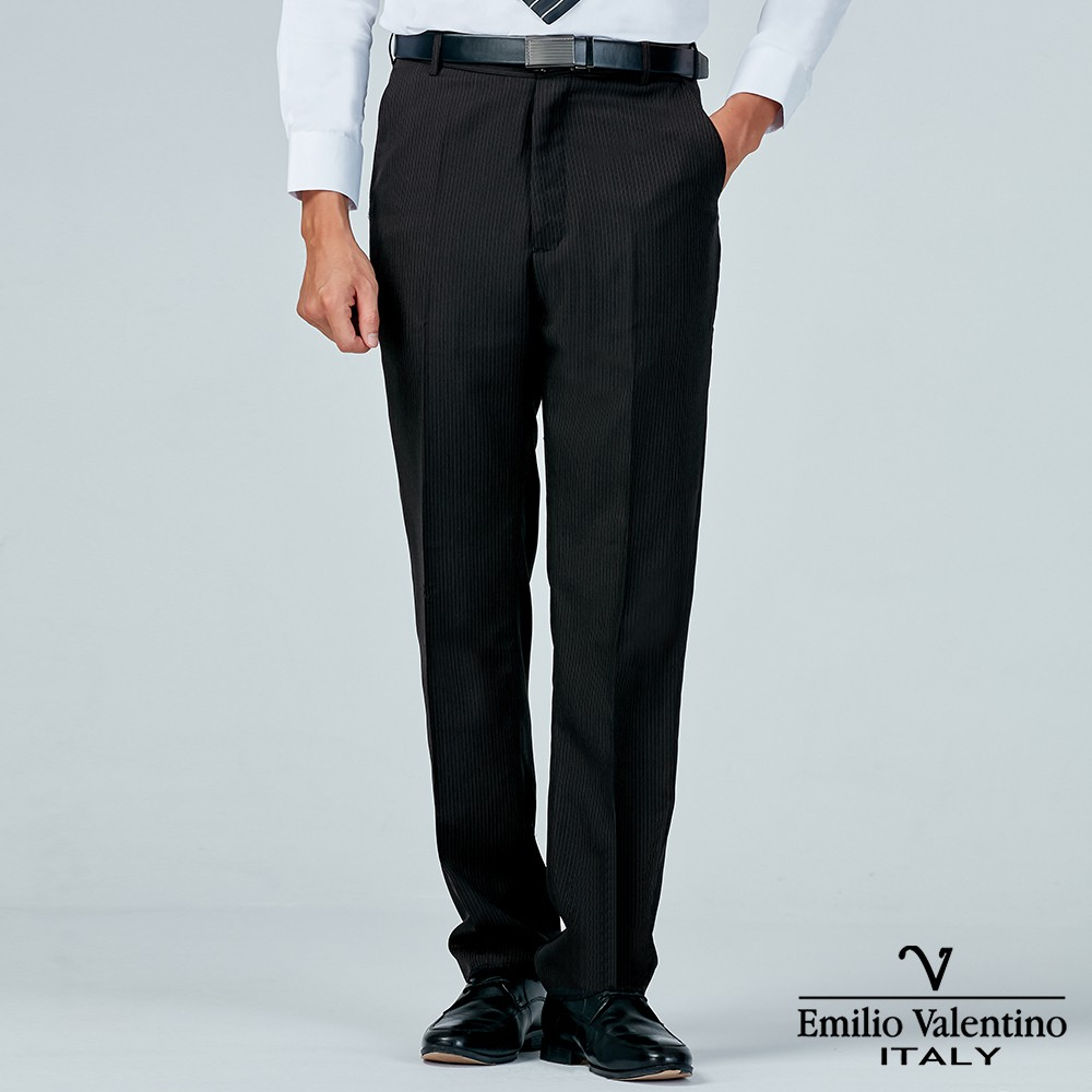 Emilio Valentino 范倫提諾商務平面西裝褲-黑灰