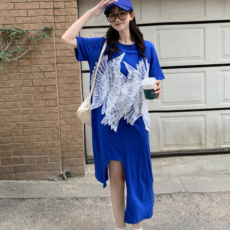 M-4XL大尺碼衣著 重工款 刺繡貼花連衣裙女2021原創設計感不規則短袖衛衣裙