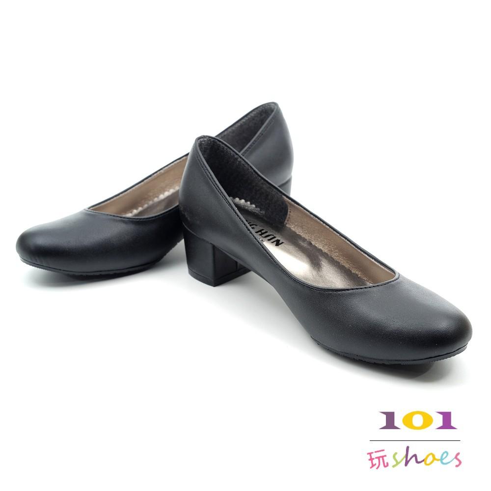 【101玩SHOES】MIT OL必備款 方低跟圓頭包鞋女鞋 黑色 35-40