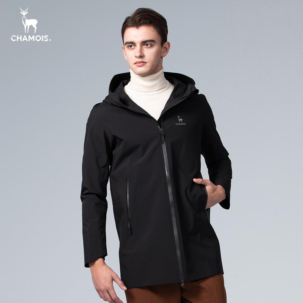 【Chamois加摩仕】Damas-Tex 防水透氣保暖連帽長版風衣外套 (經典黑)