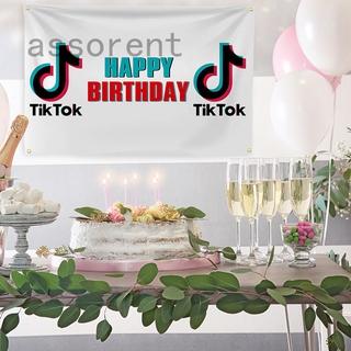 Tik Tok 生日派對背景裝飾 - 生日快樂橫幅海報 , 70.86 '' X 23.62 '' Tik Tok 標誌標