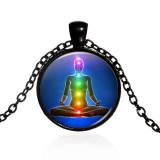 Om 瑜伽結合十節經絡人體冥想時間寶石吊墜項鍊歐美時尚玻璃項鍊