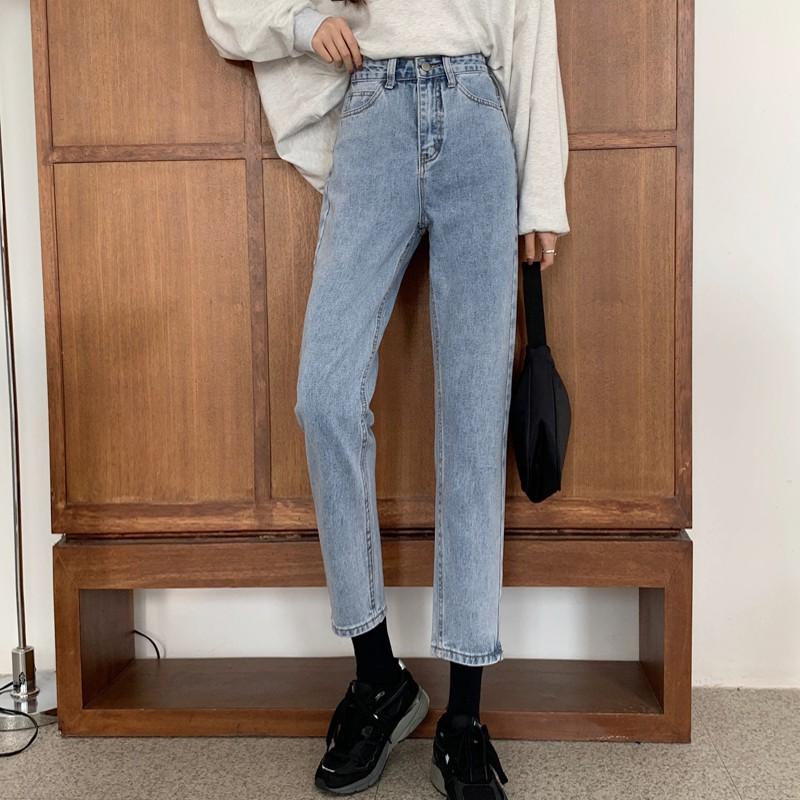 寬鬆高腰顯瘦牛仔褲 簡約牛仔九分褲 直筒九分丹寧褲 顯瘦老爹褲