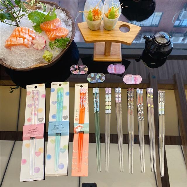 出口日本水晶筷透明筷子小美人魚筷子史努比筷子尖頭防滑筷公主筷