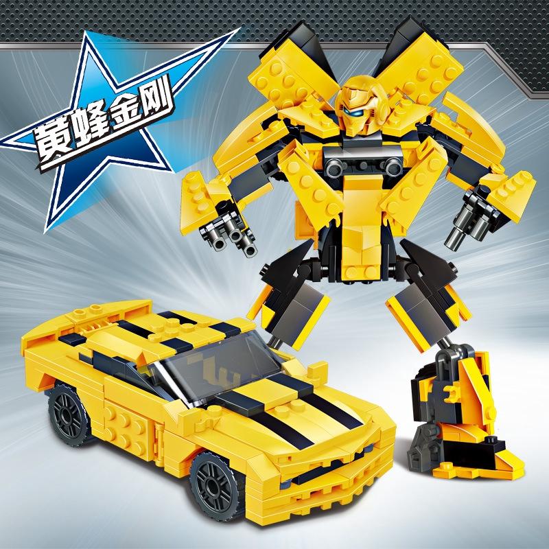 變形黃蜂擎天金剛機器人模型 兼容樂高兒童益智積木男孩玩具luckyuu