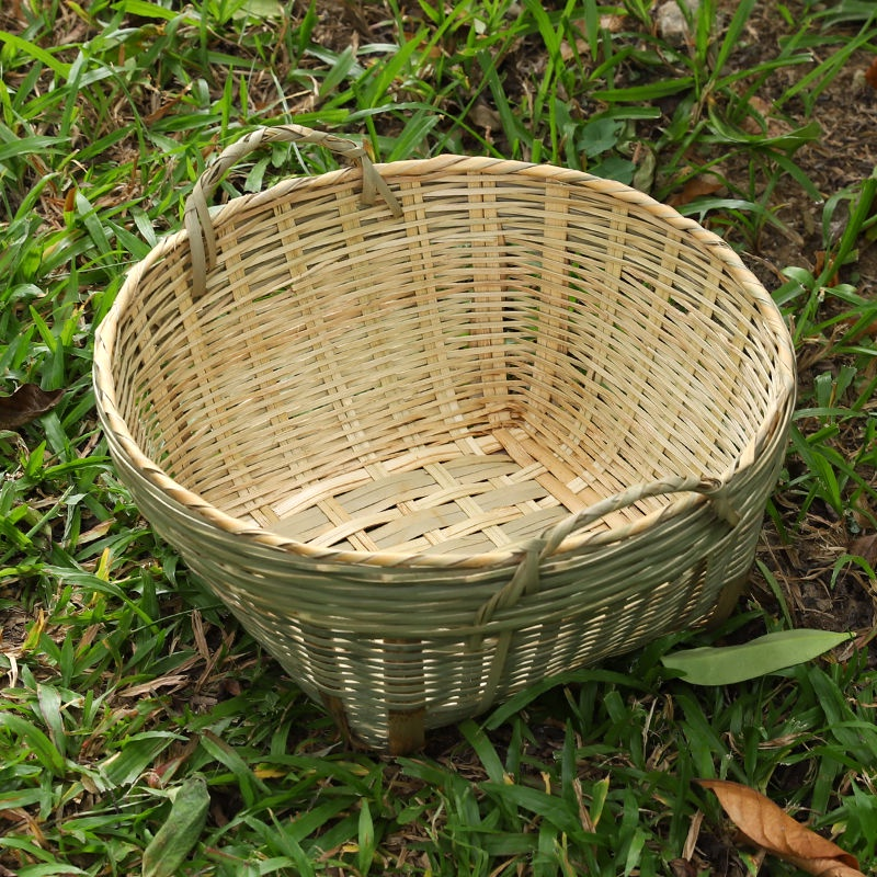 瀾佳竹編雙耳籮竹製籮筐大號水果筐蔬菜籃竹籃子竹筐收納筐農家竹簍*&*-