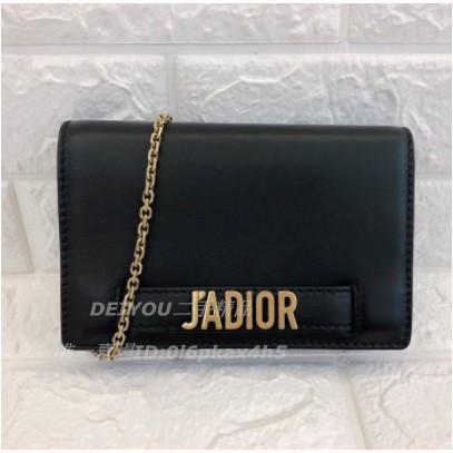 【DEIYOU】二手精品DIOR Christian Dior 黑色牛皮JADIOR鏈帶WOC 手拿包